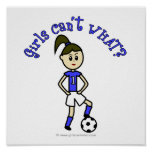 Light Womens Soccer in Blue Uniform Poster