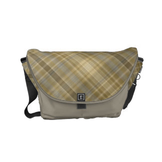 Light yellow and grey plaid commuter bag