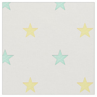 Light yellow and turquoise stars fabric