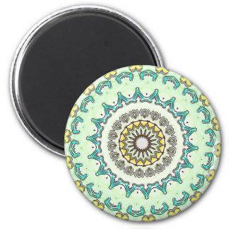 Light Yellow Mint Green Mandala 6 Cm Round Magnet