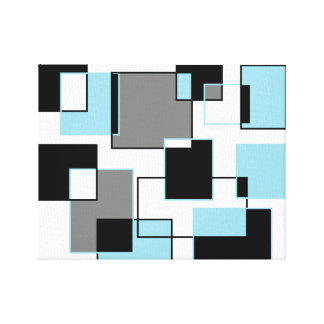 lightblue and black Squares Canvas Print
