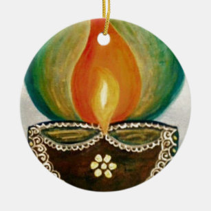 lighted diya christmas ornament