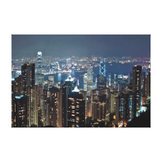 Lighted High Rise Buildings Canvas Print