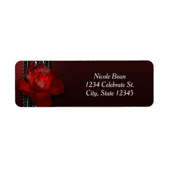 Lighted Rose & Lace Burgundy Elegant Invitation Return