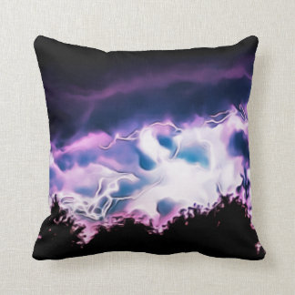 Lightening Dark Night Sky Trees Landscape Skyline Cushion