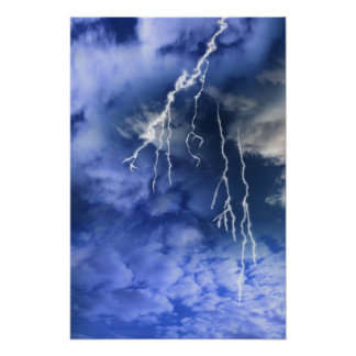 lightening from a cloudy stormy sky print
