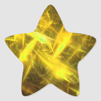 lightening Yellow Abstract Fractal Star Sticker