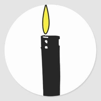 lighter with flame icon classic round sticker