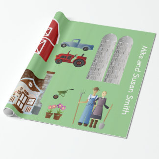 Lighthearted Farming Scene  with Farm Couple Wrapping Paper