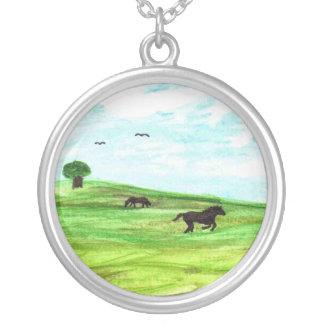 Lighthearted Horse Landscape Art Round Necklace