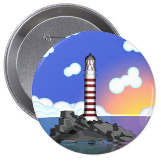lighthouse 10 cm round badge