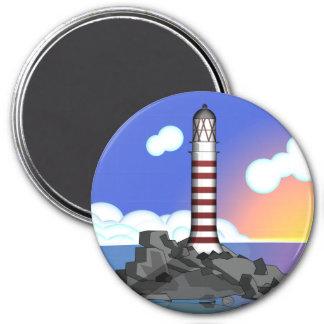 lighthouse 7.5 cm round magnet