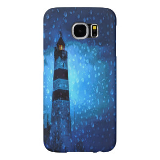 Lighthouse a dark stormy night with raindrops samsung galaxy s6 cases