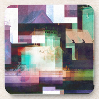 Lighthouse Abstract Beverage Coaster