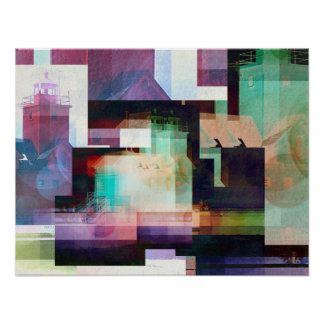 Lighthouse Abstract Poster