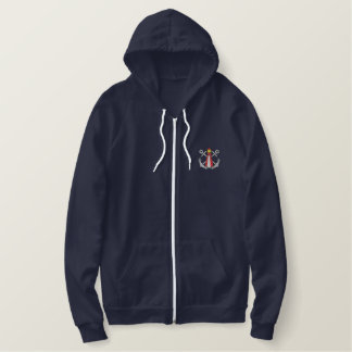 Lighthouse and Anchors Embroidered Hoodie