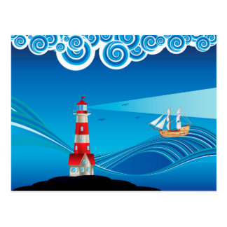 Lighthouse and Boat in the Sea 5 Postcard