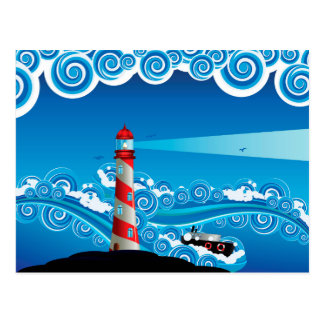 Lighthouse and Boat in the Sea 7 Postcard