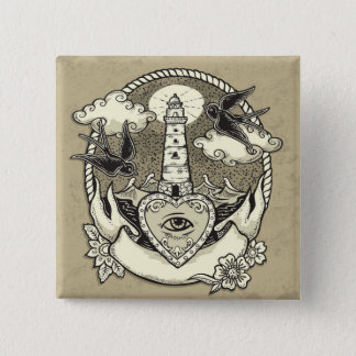 Lighthouse And Heart Tattoo 15 Cm Square Badge