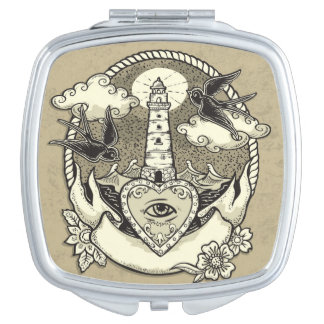 Lighthouse And Heart Tattoo Compact Mirrors