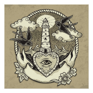 Lighthouse And Heart Tattoo Poster