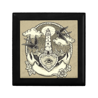 Lighthouse And Heart Tattoo Small Square Gift Box