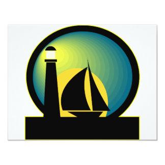 Lighthouse and Sailboat 11 Cm X 14 Cm Invitation Card