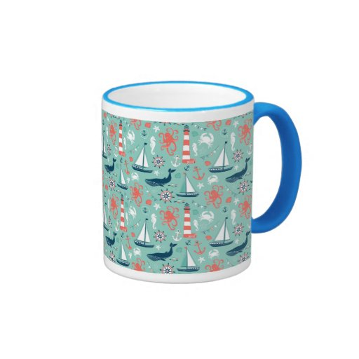 Lighthouse and Sailboats Nautical Theme Coffee Mugs