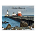 Lighthouse and Ship, Duluth Minnesota Post Card