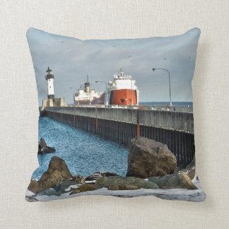 Lighthouse and Ship Throw Pillow
