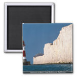 Lighthouse at Beachy Head, Eastbourne, East Sussex Square Magnet