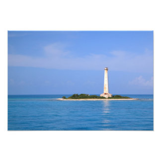 Lighthouse at Cay Lobos, old Bahamas Channel Photograph