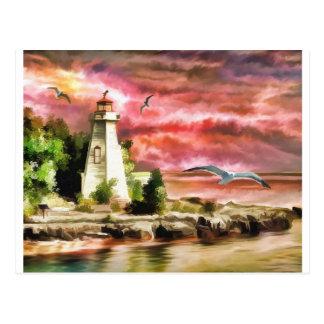 Lighthouse At Dusk Postcard
