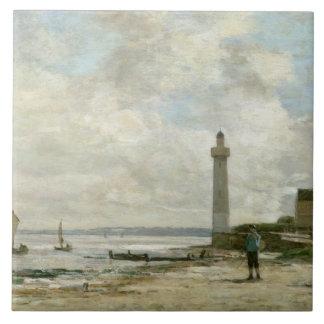 Lighthouse at Honfleur, 1864-66 (oil on panel) Tile