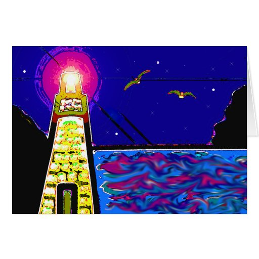 Lighthouse At Night Cards