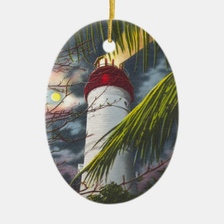 Lighthouse at night Key West, Florida Double-Sided Oval Ceramic Christmas Ornament