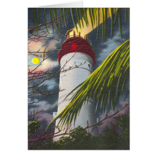 Lighthouse at night Key West, Florida Greeting Card