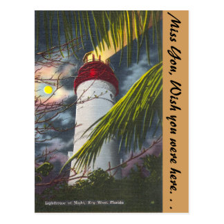 Lighthouse at night Key West, Florida Postcard