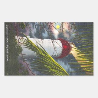 Lighthouse at night Key West, Florida Rectangular Sticker