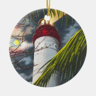 Lighthouse at night Key West, Florida Round Ceramic Decoration