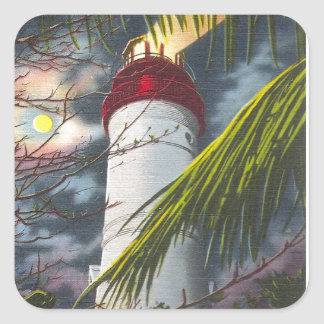 Lighthouse at night Key West, Florida Square Sticker