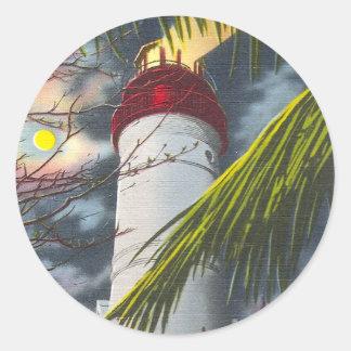 Lighthouse at night Key West Florida Round Stickers