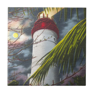 Lighthouse at night Key West Florida Tiles