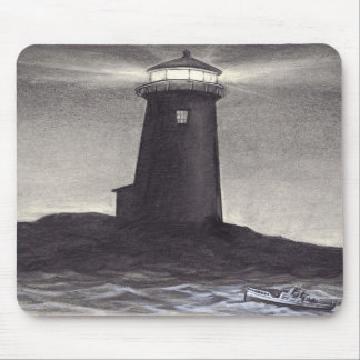 Lighthouse at night shining a light for a boat mouse pad