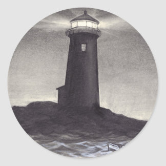 Lighthouse at night shining a light for a boat round sticker