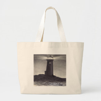 Lighthouse at night shining a light for a boat bag