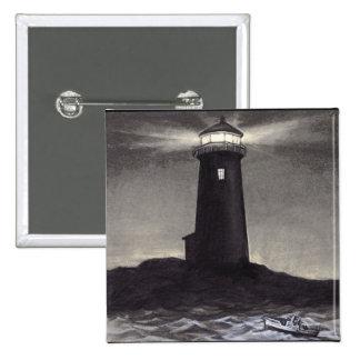Lighthouse at night shining a navigation light 15 cm square badge