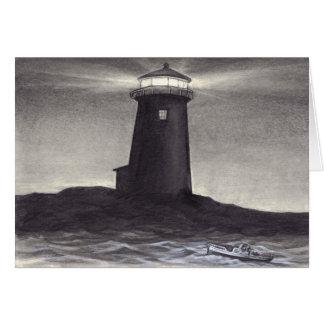 Lighthouse at night shining a navigation light greeting card