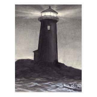 Lighthouse at night shining it's navigation light postcard