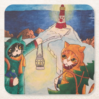 Lighthouse at Night Square Paper Coaster